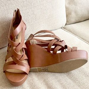 Brown Strappy Platform Wedges Heels
